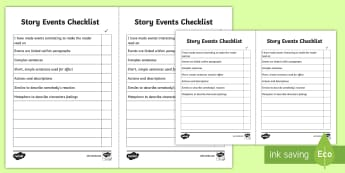 Story Events Checklist - story events, story writing, story checklist, creative writing, events checklist, story writing checklist, ks2 literacy, stories