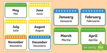 Months of the Year Flashcards Romanian/English - months, year, flashcards, cards, EAL, romanian, english