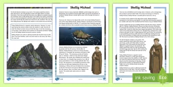 Skellig Michael Differentiated Reading Comprehension Activity  - ROI - The World Around Us - Skellig Islands, Skellig Michael, monastery, monks, Kerry, clochain, bee