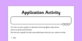 Layout Devices Application Worksheet / Activity Sheet - GPS, presentational devices, headings, sub-headings, columns, bullets, tables, non-fiction, worksheet