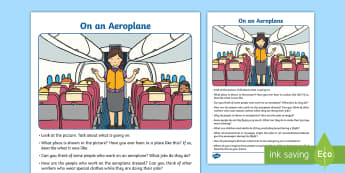 On an Airplane Oral Language Activity Sheet - Oral Language Activity Sheets, talk and discussion, listening skills, talk about the picture, aeropl