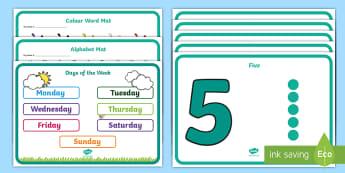 Senior Infant Desk Information and Alphabet Mat - desk mat, alphabet, numbers, colours, senior infants,
