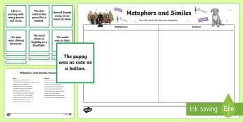 Metaphor and Simile Matching Cards - CfE Literacy, reading comprehension strategies, metaphors, similes, figurative language, sorting car