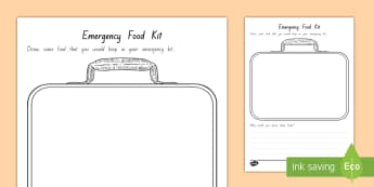 Emergency Food Kit Drawing Activity - Science, Dehydration, Fruit, Senses, Observations, Year 1-3, emergency kit