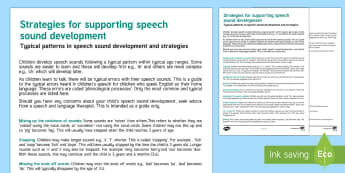 Strategies For Supporting Speech Sound Development - SEN, speech