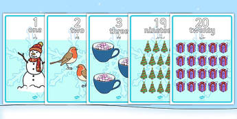 Winter Themed Number Posters 1-20 Words and Numbers Arabic Translation - arabic, Winter, numeracy, counting, number poster, number words, display banner, polar, arctic, display, winter words, Word card, flashcard, snowflake, snow, winter, frost, cold