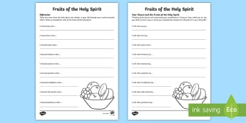 The Fruits of the Holy Spirit Activity Sheets - worksheet, Confirmation, Work sheet, Activity, Sixth Class , Irish, Jesus, Christianity