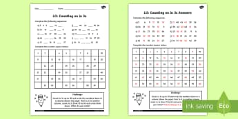 Counting in 3s Worksheet - counting, worksheet, 3, numbers, math