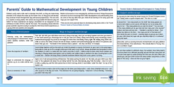 Parents' Guide to Mathematical Development in Young Children Parent and Carer Information Sheet - early years, number, shape, maths, family, parents