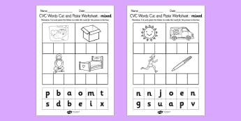 CVC Words Cut and Paste Worksheet / Activity Sheets Mixed - CVC word, cut, paste, literacy, phonics, fine motor, cvc, cutting