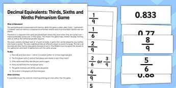 Year 6 Decimal Equivalents Thirds Sixths and and Ninths Pelmanism Game - maths, numeracy, ks2, uks2, matching, memory game, activity, starter