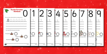 Christmas Number Formation Worksheets (0-9) - Christmas, overwriting, xmas, Handwriting, number formation, Christmas, pudding, advent, nativity, santa, father christmas, Jesus, tree, stocking, present, activity, cracker, angel, snowman, advent , baub