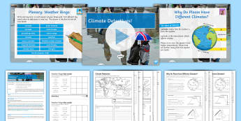 Weather and Climate Lesson 12: Climate Detectives! Lesson Pack - Climate, Latitude, Altitude, Prevailing Winds, Ocean Currents, North Atlantic Drift
