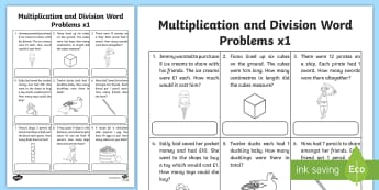 Multiplication and Division Word Problems x1 Activity Sheet  - multiplication, division, word problem, problem solving, maths, 1x, x1, times tables, worksheet