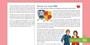 Romeo and Juliet: Plot Pupil Knowledge Sheet  - Secondary, SEN, lower ability resources, shakespeare, romeo and juliet