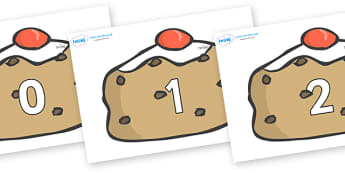 Numbers 0-50 on Currant Buns - 0-50, foundation stage numeracy, Number recognition, Number flashcards, counting, number frieze, Display numbers, number posters