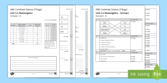 AQA Combined Science (Trilogy) Unit 4.4 Bioenergetics Test - KS4 Assessment, Test. photosynthesis, equations, respiration, fermentation, anaerobic, aerobic