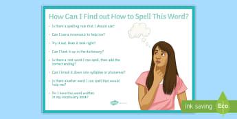 Spelling Strategies Large Display Poster - spelling, strategies, poster