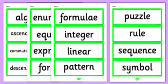 Year 6 2014 National Curriculum Algebra Vocabulary Cards - vocab cards