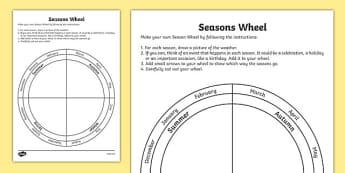 Seasons Wheel Activity Sheet - australia, seasons wheel, activity, sheet, science, seasons, wheel, worksheet