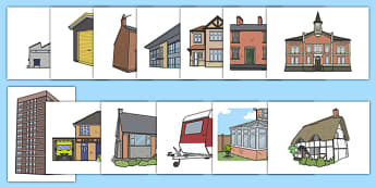 Buildings Display Cut-Outs - structure, model, ks1, eyfs,  houses and homes, house, home, building, display, banner, poster, brick, stone, detached, terraced, bathroom, kitchen, door, caravan, where we live, ourselves, oursleves, ourselvs, abnner