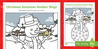 Christmas Snowman Number Bingo Activity - bingo, number bingo, bingo dabber, christmas, snowman, winter, dice, early maths