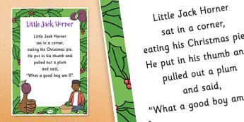 Little Jack Horner Nursery Rhyme Poster - rhymes, display, songs