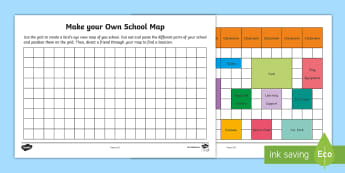 Make Your Own School Map Activity Sheet - Mathematics, Year 1, Year 2, Measurement, Geometry, transformation, location, position, school map,