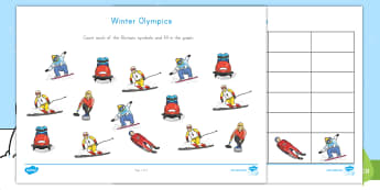 Winter Olympics Count and Graph Worksheet / Activity Sheet - Data and measurement, PyeongChang, South Korea, Winter Sports, worksheet