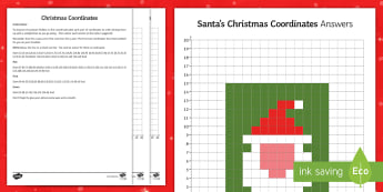 * NEW * KS2 Santa's Christmas Coordinates Activity Sheet  - plotting, quadrant, end of term, axes, colouring, picture, worksheet