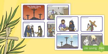 Easter Story Sequencing Shortened 8 Cards English/Romanian - easter, story, cards, story sequncing, squencing, easterstory, easer, easster, eatser, seqencing, ga