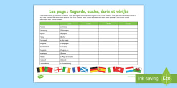 Countries Look, Cover, Write and Check Activity Sheet - French, Countries, KS2, KS1, Flags, Writing, Europe, Travelling, Holidays, Visiting, Foreign, Abroad