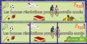 New Year's Resolutions Display Banner-French - New Year, French, banner, display, resolutions, bonne, résolution, nouvel an, nouvelle année, band