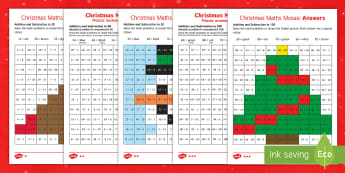 Christmas Maths Mosaic Activity Sheets English/Romanian - New Zealand Christmas, addition, subtraction, mathematics, relieving, independent activity, christma