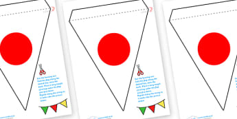 Japanese Flag Bunting - japanese flag, bunting, japanese bunting, japan bunting, japan themed display bunting, japanese flag display bunting