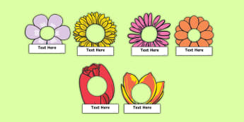 Editable Flower Self-Registration Labels - photo, name, EYFS, Year 1, Year 2, KS1