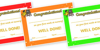 First Week Award Certificates - First week, award, scroll, reward, award, certificate, medal, rewards, school reward