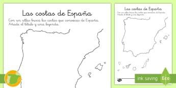 Ficha: Las costas de España - mapas de españa, la playa, las costas, mapas, mapas mudas, verano, pueblos costeros , vacaciones,Sp
