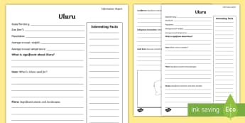 Australian States and Territories – Uluru Fact File - Year 3, three, ACHASSK066, Australian Curriculum, Geography, Northern Territory, language, Vocabular