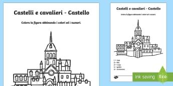 Italian Castelli e cavalieri Colora con i Numeri - castelli, cavalieri, medioevo, colora, colorare, fogli, italiano, italian, numeri, esercizio