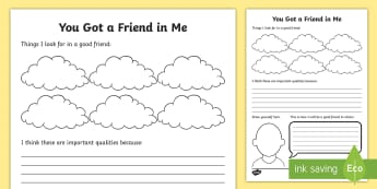 You Got a Friend in Me Activity Sheet - friends, qualities, teamwork, worksheet, relationships, new class, transition, PSCHE