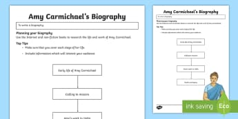 Amy Carmichael Biography Flowchart Step-by-Step Instructions - Northern Ireland Amy Carmichael Missionary India