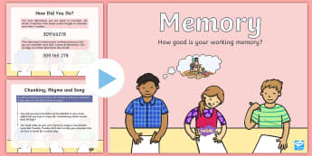 Working Memory PowerPoint - ASN, short term memory, memory test, memory strategies, ADHD,