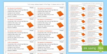 Time-Saving French Marking Presentation Stickers - Writing, presentation, assessment, marking, target, KS3, French,French