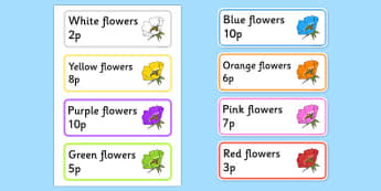 Garden Centre Labels - Flowers - Display, garden centre, plants, plant, topic, flower, price, price labels, for sale