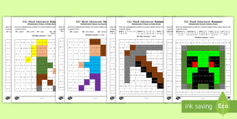 KS1 Block Adventurer 2, 5 and 10 Multiplication Tables Maths Mosaic Activity Sheets - solve problem, mastery, times table, multiply, colour in, calculate, worksheets, 2x, 5x, 10x, year 2
