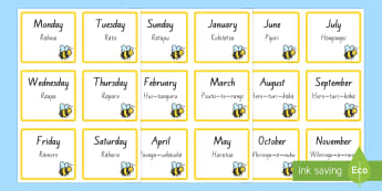 Busy Bee Day of Week and Month Display Labels