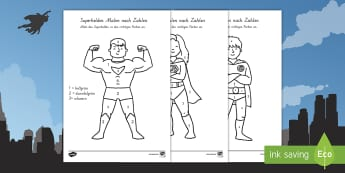 Superhelden Malen nach Zahlen - Superheroes Colour by Number - colour, number, superheroes, super, superhereos, coloyur by number, s