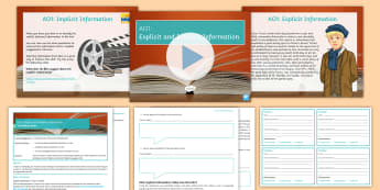 Introduction to the Reading AOs: AO1 Lesson Pack  - secondary, English, KS3, reading, assessment objectives, AO1, implicit information, explicit informa