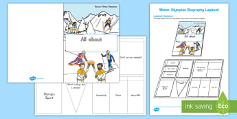 Winter Olympian Biography Lapbook Activity - Olympics, Winter Olympics 2018, research, informational writing